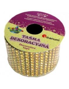 Wstążka DIAMENTOWA 5 cm x 2 m złota-2554