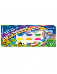 Farby plakatowe 10 kolorów BAMBINO 20ml standard-3126