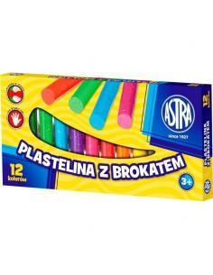 Plastelina brokatowa 12 kolorów ASTRA-3234
