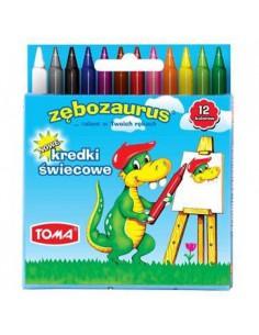 Kredki świecowe ZĘBOZAURUS 12 kolorów TOMA -5199