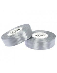 12mm WS8139 Wstążka satynowa jasna srebrna 32mb-5719