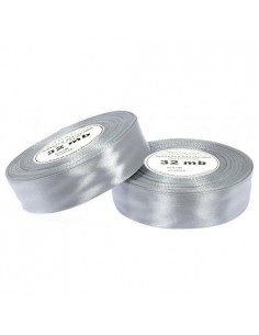 6mm WS8139 Wstążka satynowa jasna srebrna 32mb-5721