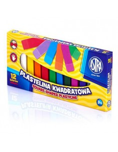 Plastelina kwadratowa 12 kolorów ASTRA-6579