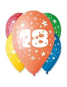 "Balony 12"" z nadrukiem ""18"", pastel mix 5 szt.  -7467"