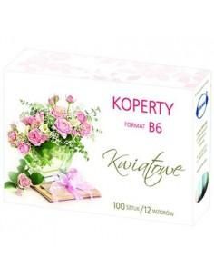 Koperty B6 100szt  KWIATY-7945