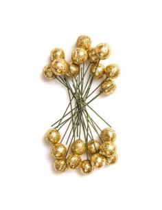 Owoce ostrokrzewu 1,2 cm - Złote brokat, 24 szt. -8635