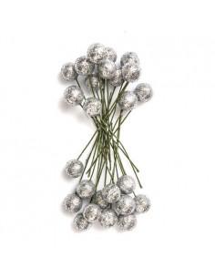 Owoce ostrokrzewu 1,2 cm- Srebrne brokat, 24 szt. -8636