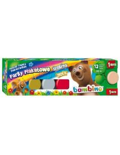 Farby plakatowe 12 kolorów BAMBINO 20 ml standard-3128