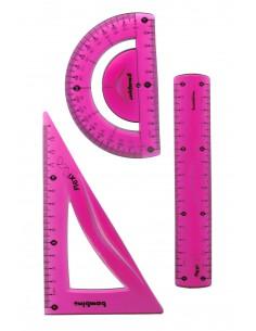 Zestaw geometryczny 3 elem 15cm linijka STRZEGOM-3132