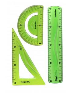 Zestaw geometryczny 3 elem 20cm linijka STRZEGOM-3133