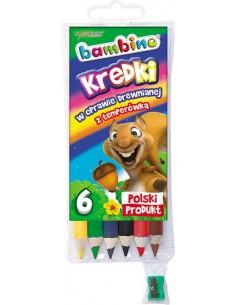 Kredki BAMBINO 6 kolorów w oprawie drewnianej-3136