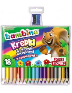 Kredki BAMBINO 18 kolorów w oprawie drewnianej-3137