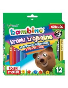 Kredki BAMBINO trójkątne 12 kolorów z temperówką-3156