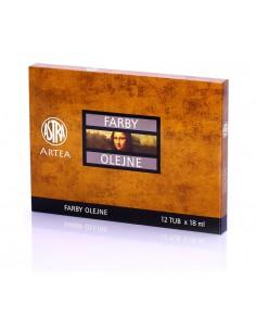 Farby olejne 12 kolorów tubka-18ml  zestaw I Astra-3079