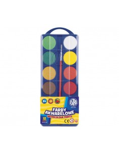 Farby akwarelowe 12 kolorów FI30mm ASTRA-3103