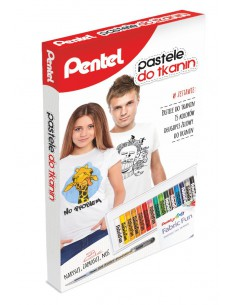 Kredki pastele PENTEL do tkanin 15 kolorów