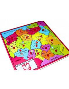 Drewniana mapa Polski puzzle