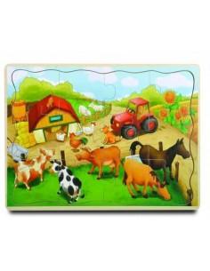 PUZZLE drewniane Farma zabawka