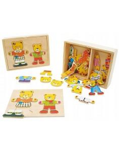 Puzzle Układanka drewniana MIŚ z dzieckiem do przebierania