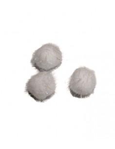 Pompony białe opalizujące 35mm