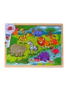 Układanka drewniana PUZZLE Dzikie Zwierzęta 10m+