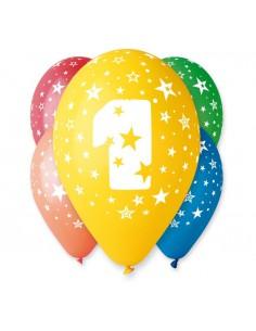 "Balony 12"" z nadrukiem ""1"", pastel mix 5 szt."