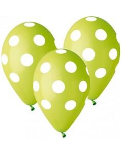 """Balony Premium Grochy zielone 12"""" 5szt"""