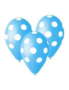 """Balony Premium Grochy błękitne 12"""" 5szt"""