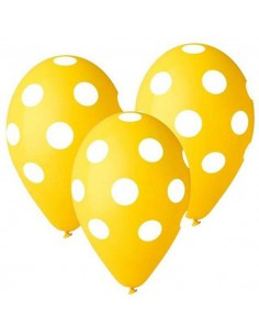 "Balony Premium Grochy żółte 12"" 5szt"