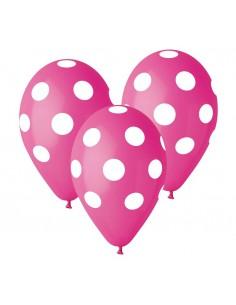"""Balony Premium Grochy różowe 12"""" 5szt"""