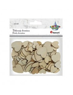 Dekoracja ozdobne drewniane serca 120szt. mix rozmiarów
