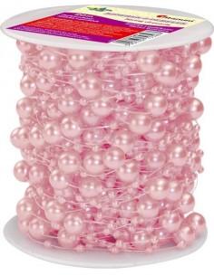 Sznurek ozdobny w perełki 20m różowy