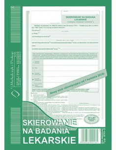 Skierowanie na badanie lekarskie A5 850-3-157