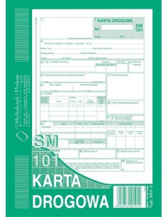 KARTA DROGOWA SM/101 (SAMOCHÓD OSOBOWY) A5 802-3 -27