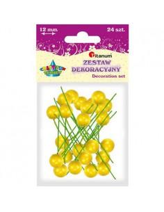 Dekoracja ostrokrzew żółta 1,2cm 24szt.