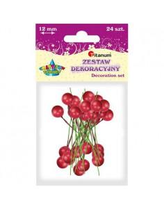 Dekoracja ostrokrzew czerwona 1,2cm 24szt.