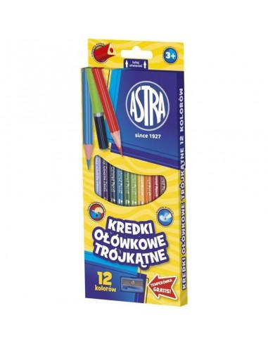 Kredki ołówkowe trójkątne 12 kolorów Astra -3183