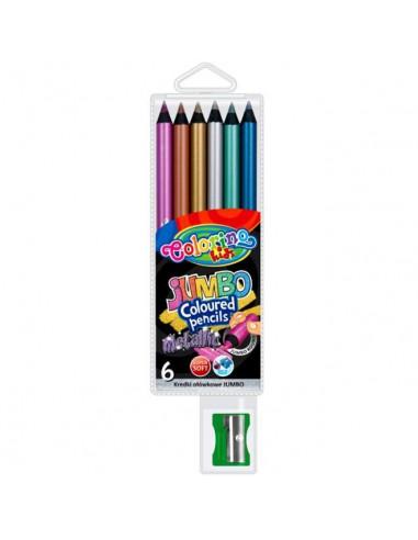 Kredki ołówkowe czarne metaliczne JUMBO 6 kolorów-5190