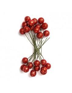 Owoce ostrokrzewu 1,2 cm- Czerwone brokat, 24 szt.-8637