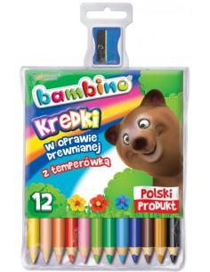 Kredki BAMBINO 12 kolorów w oprawie drewnianej-3135