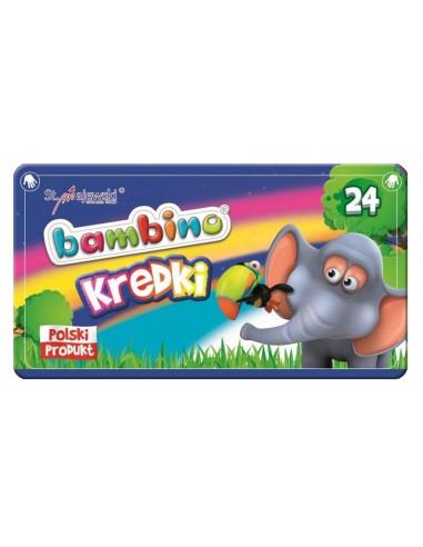 Kredki BAMBINO świecowe 24 kolory pudełko metal-3161