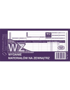 WZ Wydanie materiałów na zewnątrz 1/3 A4 351-8-68