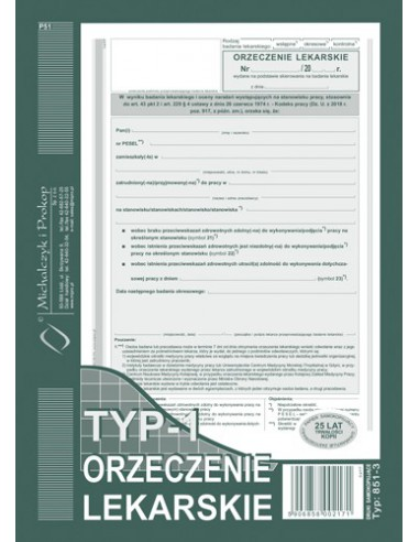 Zaświadczenie lekarskie A5 851-3-18