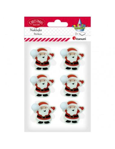 Naklejki świąteczne Mikołaje 3D z...