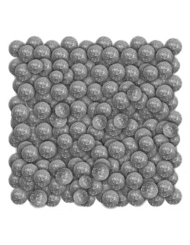 Dekoracja kulki brokatowe srebrne20g