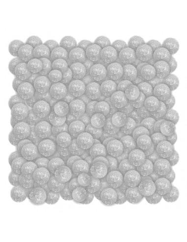 Dekoracja kulki brokatowe białe 20g