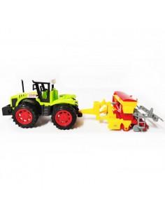 Traktor zabawka z siewnikiem