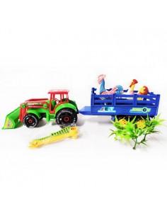 Traktor koparka z przyczepą...